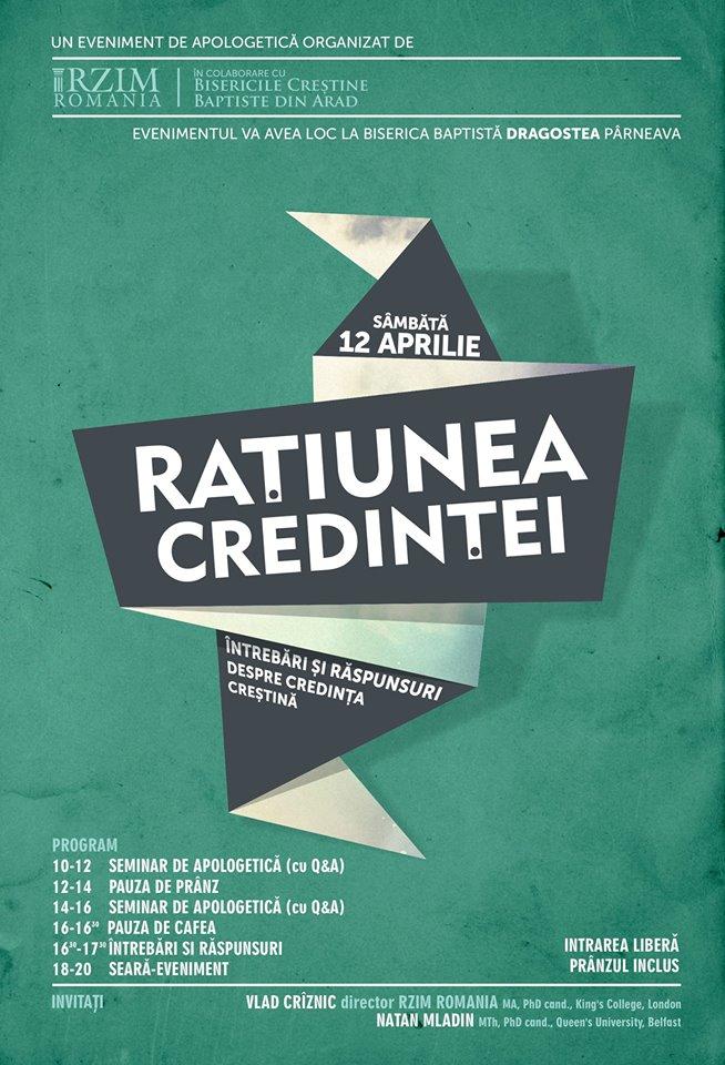 Conferinţa Raţiunea credinţei la Dragostea Arad 12 aprilie 2014