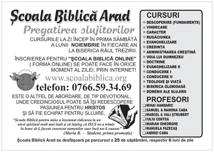 Şcoala Biblica Arad 2014-2015