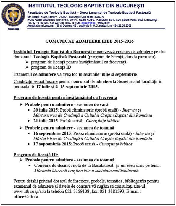 Admitere ITPB 2015