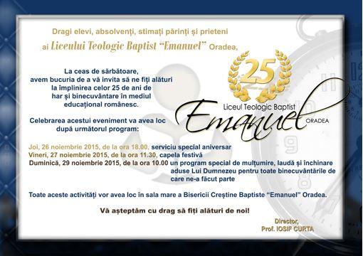 "Aniversare 25 ani Liceul Baptist ""Emanuel"" Oradea sursa noel.ro"