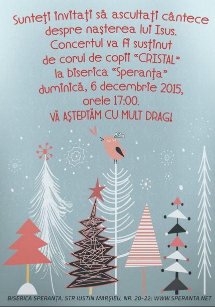 """C orul de copii """"Cristal"""" Speranța Decembrie 2015"""