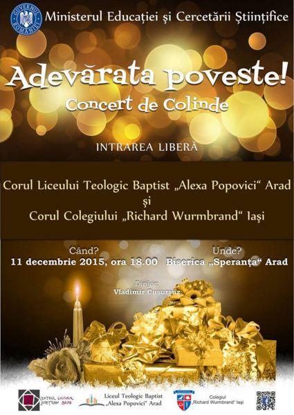 """Corul Liceului Teologic Baptist """"Alexa Popovici"""" Arad și Corul Colegiului """"Richard Wurmbrand"""" Iași Speranța Arad Decembrie 2015"""
