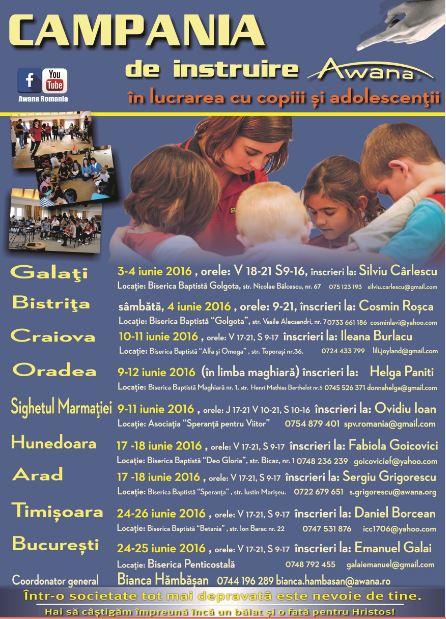 Awana România Campania de instruire în lucrarea cu copiii și adolescenții (2016)