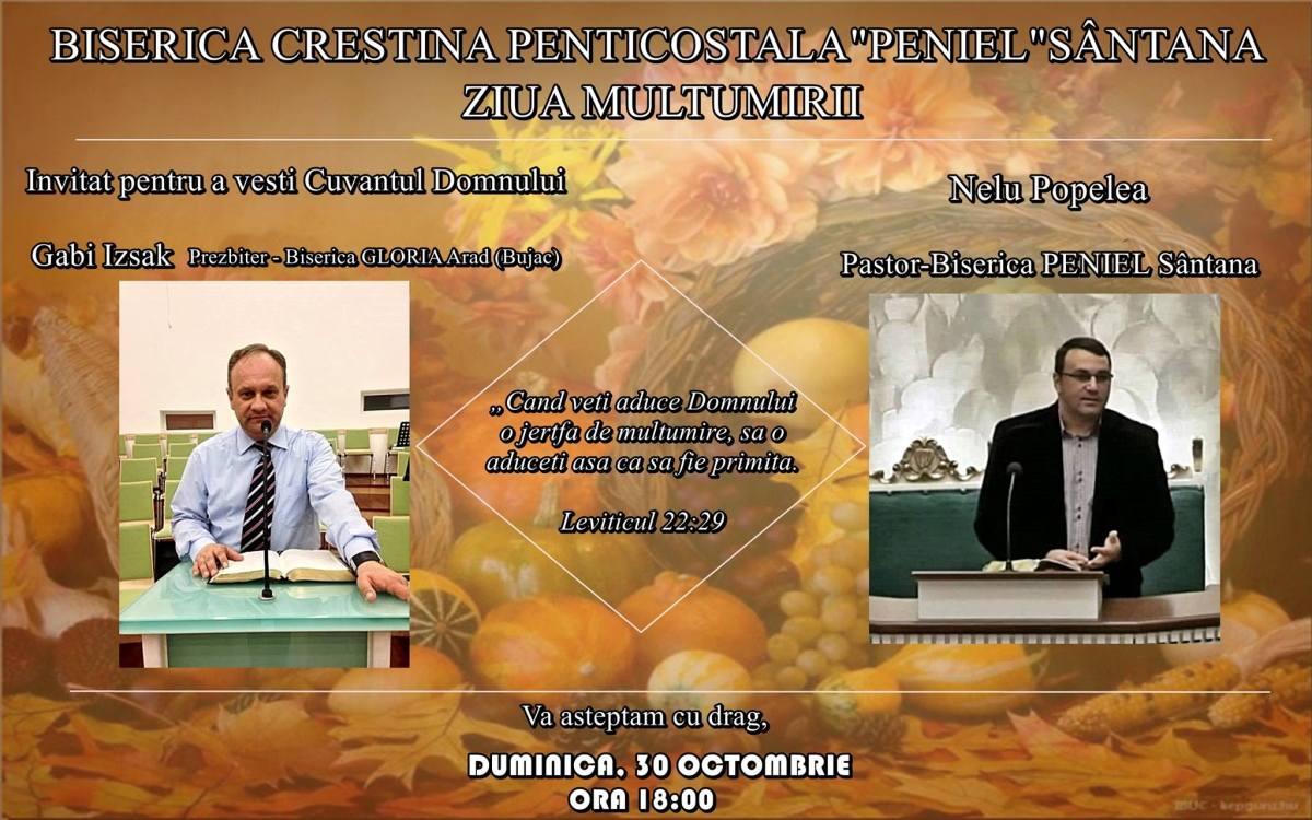 """Ziua Mulțumirii la Biserica Creștină Penticostală """"Peniel"""" Sântana, Arad"""