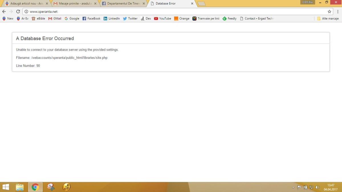 Atac sau degringoladă pe site-ul speranta.net?